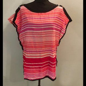 Loft Pink/Red/White Striped Beach CoverUp Top